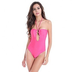 Polyester Wireless Solid Color Halter One Pieces Swimwear Uk For Women