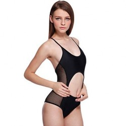 Sexy Semi-sheer Cut-out Black One-piece Swimsuit Uk For Women