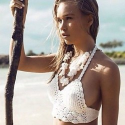 Crochet Beige Bikini Bustier Swimwear Uk For Women Beach Wear 2019 Summer Trends