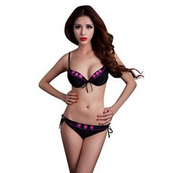 Foclassy®Push Up Plus Size Bikini Flower Decorate Ties Sides Bottom