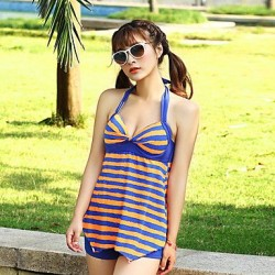 Color Block Bandeau One Pieces Polyester