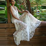 Lace/Polyester Sexy Deep V Hollow Out Cover-Ups
