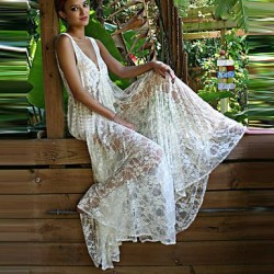 Lace Polyester Sexy Deep V Hollow Out Cover Ups