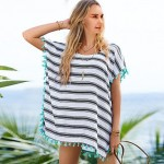 Polyester Fashion Loose Stripe Print Cover-Ups