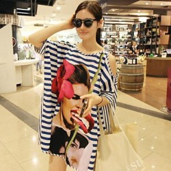 Chiffon Polyester Sexy Stripe Beauty Print Loose Cover Ups