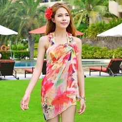 Agaric Edge Printing Steel Supporting Bikini Three Piece Suit