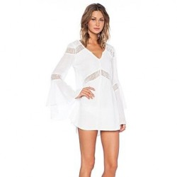 Sexy Flare Sleeve Cover Ups Dress