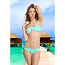 Sky Blue Diamond Crystal Retro Bandeau Bikini Beachwear Sexy Swimwear Uk For Women Biquinis