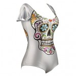 PinkQueen® Polyester Colorful Skulls Printed One-pieces Swimwear Uk For Women