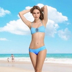VBM Sky Blue Diamond Crystal Bandeau Bikini Swimwear Uk For Women Sexiest Secret Swiming Suits Biquini