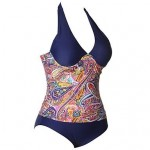PinkQueen® Spandex Deep Blue Floral Print Swimsuit Uk For Womens