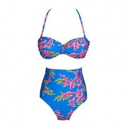 High Waist Floral Pattern Summer Beach Swimwear Uk For Women Bikini Set