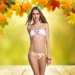 White Crystal Vintage Bandeau Sexiest Bikinis Beach Wear Swimwear Uk For Women Swiming