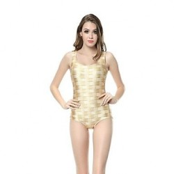 Woman O Neck Knitted Print Knitted One-Piece Swimsuit Uk For Women