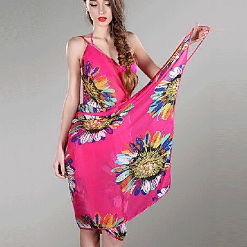 Chiffon Colorful Flowers Print Beach Swimwear Uk For Women