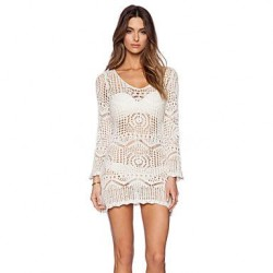Lace Polyester Fashion Sexy Hook Flower Long Sleeve Cover Ups