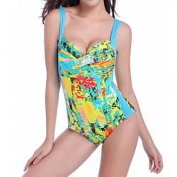 Nylon/Polyester Sexy Print Wireless Straped One-pieces Swimwear Uk For Women