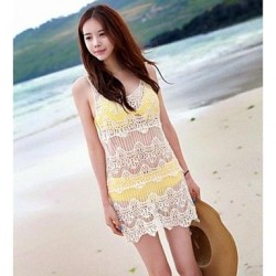 Fashion Sexy Solid Hollow Crochet Sunscreen Swimwear Uk For Women Swimsuit Uk For Women Bikini Beach Cover-up
