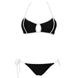 Sexy Sultry White Trimmed Black Bikini Swimwear Uk For Women