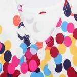 Woman O Neck Sexy White Colorful Dots Printed One-Piece Swimwear Uk For Women