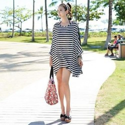 Loose Chiffon Black And White Stripes With Black Sand Beach Swimsuit Uk For Women Cover Skirt,Beach Jacket
