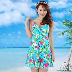Summer new Elegant Plus Size One Piece Flower Print Swim Dress