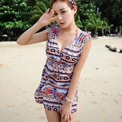 Fashion Print Front And Back Deep V Swimwear Uk For Women Swimsuit Uk For Women Bikini Beach Cover Up Holiday Dress