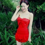 Korea Style Sweet Beach One-piece with Skirt Swimwear Uk For Women Set