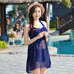 Elegant Halter Polka Dots Padded Tankini Swimsuit Uk For Women