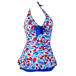 Woman Strawberry Halter Padded Swimwear Uk For Women Swimdress Tankini Top With Attached Bottom