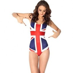 UK Flag Polyester Wireless Halter One Size One Pieces Swimwear Uk For Women