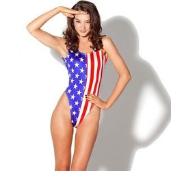 US Flag Polyester Wireless Halter One-size One-pieces Swimwear Uk For Women