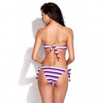 RELLECIGA 2014 Kaleidoscope Collection – Purple & White Stripe Twist Bandeau Top with Removable Halter Strap BIKINI