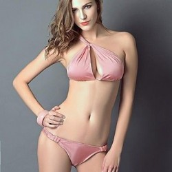 Summer Sexy Single Shoulder Pink Bikini Swimwear Uk For Women Set