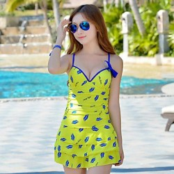 Summer New Woman's Elegant Goddess Layered Falbala Lip Print One Piece Swimsuit Uk For Women