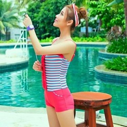 Elegant Swimwear Uk For Women Flouncing Striped One Piece Swim Suit Skirt