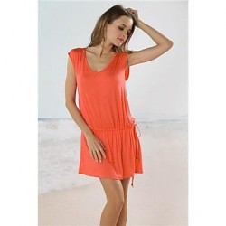 Stylish Metal Pearl Button Solid Beach Deep V Dress
