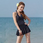 Lady's Pure Color Sexy Fashion Bow Halter Tankinis