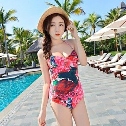 Spandex Halter Flower Pattern Sexy Siamese Triangle One-pieces