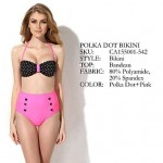 Colloyes 2019 New Sexy Polka Dot Pink Bikini Swimwear Uk For Women With Bandeau Top and High-waist Bottom(Size:S/M/L)
