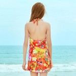 Printed Steel Prop Gather Piece Skirt Type Swimsuit Uk For Women