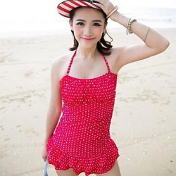 Popular Wave Point Cute Skirt Style Nylon And Spandex One Pieces Swimsuit Uk For Women
