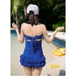 Popular Wave Point Cute Skirt Style Nylon and Spandex One-Pieces Swimsuit Uk For Women