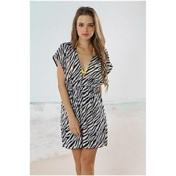 Black and white zebra Classic Deep V Neck Beach Cover-up Mini Dress
