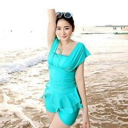 Solid Color Lotus Leaf Skirt Style Nylon and Spandex Two-Pieces Swimsuit Uk For Women