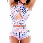 Light Pink Blue Mixture Halter Lingerie Set