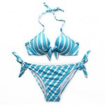 Bikini of the Year – RELLECIGA NEW Gorgeous Halter Top Blue Metallic Stripe Bikini Set with Molded Foam Padding