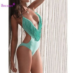 Wireless/Padless Bra Color Block/Floral/Solid/Geometric Halter One-pieces (Nylon/Spandex)