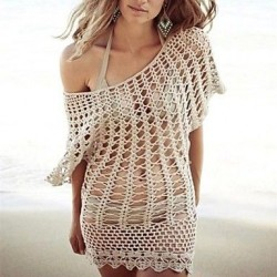 Fashion Round Collar Khaki Hollow Crochet Swimwear Uk For Women Swimsuit Uk For Women Bikini Beach Cover-up Mini Dress