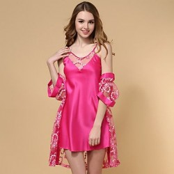 Silk Ice Silk Lace Noble Lingerie Robes Nightwear